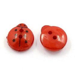 Копче калинка 13x12x4.5 мм дупка 1 мм червено -20 броя