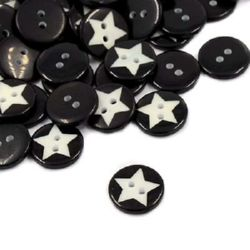 Plastic round button for sewing, scrapbooking, DIY home decoration accessories 15x2.5 mm hole 2 mm black - 20 pieces