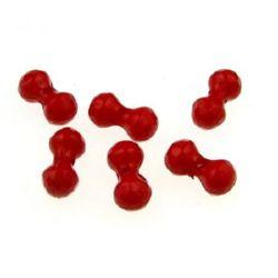 Figurină  margele gaură de 14x7 mm 1,5 mm roșu - 50 grame ~ 110 bucăți