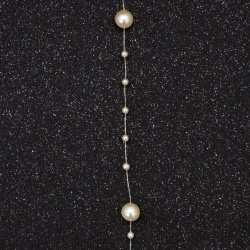 festoon with plastic pearl 4 ± 8 mm cream color -1 meter