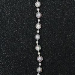 festoon with plastic ball 4 ~ 9 mm transparent cracked faceted arc -1 meter