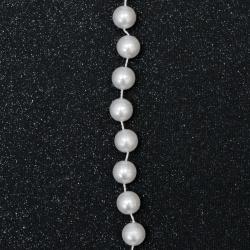 Festoon with pearl plastic 8 mm white -1 meter