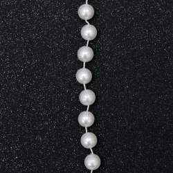 Festoonwith pearl plastic 10 mm color white -1 meter