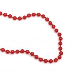Festoon with pearl plastic  5 mm red -1 meter