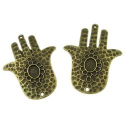 Свързващ елемент ръката на Фатима 47x36x3 мм дупка 2 мм цвят антик бронз -2 броя