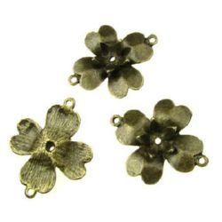 Flori de fixare 39x32x8 mm gaură 2 mm culoare bronz antic -5 bucăți
