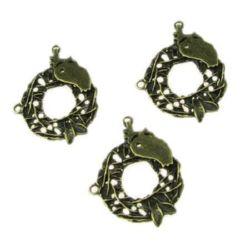 Element de legătură coroană 28x22x2 mm gaură 1,5 mm culoare bronz antic -5 bucăți