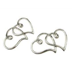 Element de conectare forma  inima 34x22x2 mm culoare argintiu -2 bucăți