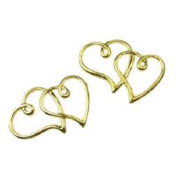 Element de conectare forma  inima 34x22x2 mm culoare aur -2 bucăți