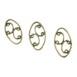 Element de legătură oval 22x12x2 mm culoare bronz antic -10 bucăți
