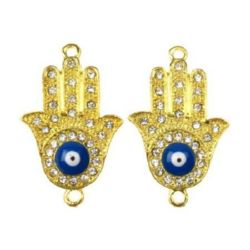 Connecting element metal hand of Fatima with crystals and lucky blue eye incenter 35.5x22x5 mm hole 2 mm color gold