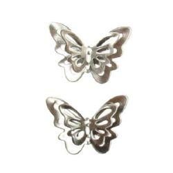 Свързващ елемент метал стомана пеперуда 25x17.8x5.6 мм дупка 1 мм цвят сребро