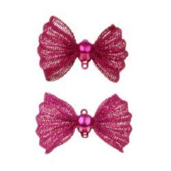 Μεταλλικός σύνδεσμος φιόγκος  21x29x9 mm τρύπα 1 mm χρώμα ροζ