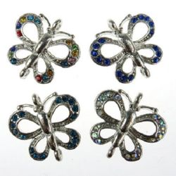 Metal connecting element in the shape of a butterfly with multicolored crystals 26x23x3.5 mm hole 1.5 mm color silver
