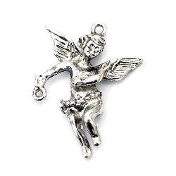 Свързващ елемент метал ангел 37x26x7 мм дупка 1~2 мм цвят старо сребро -2 броя