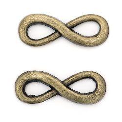 Element de legătură metal infinit 9x24x3 mm orificiu 4x7 mm culoare bronz antic -10 bucăți