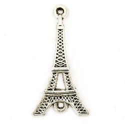 Element de legătură turn Eiffel metalic 36,5x19x4 mm gaură 2 mm culoare argintiu vechi -4 bucăți