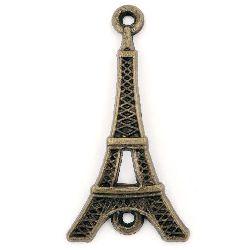 Element de legătură metal turn Eiffel 36,5x19x4 mm orificiu 2 mm culoare bronz antic -4 bucăți