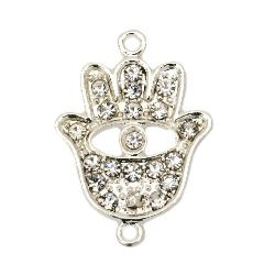 Metal connecting element with crystal, Hamsa hand sign for DIY talismans, key chains, bracelets making 29x21x3 mm hole 2 mm silver color
