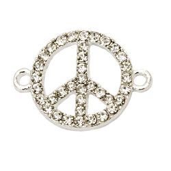 Metal connecting element peace sign with crystals 26x19x2 mm hole 2 mm color silver