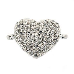 Lustrous metal heart, connecting element with clear crystals  29x19.5x3 mm hole 2 mm silver color