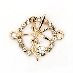 Circle metal connecting element with fairy in the core and tiny crystals around 24.5x21x5 mm hole 0.8 mm color gold pink