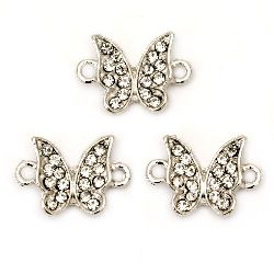 Delicate connecting metal element with clear crystals, butterfly 9x13x4 mm hole 2 mm silver color