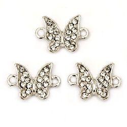 Свързващ елемент метал с кристал пеперуда 19x13x4 мм дупка 2 мм цвят сребро