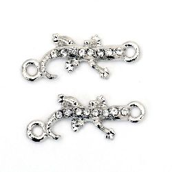 Connecting metal element, in the shape of lizard with crystals 23x9x3 mm hole 2 mm color silver
