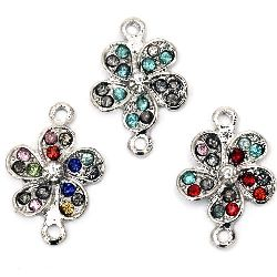 Metal flower shape, connecting element with colorful crystals 21x14x4 mm hole 1.5 mm silver color
