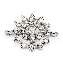 Lustrous metal connecting element with crystal in the shape of the sun 21.5x16x5 mm hole 1 mm silver color