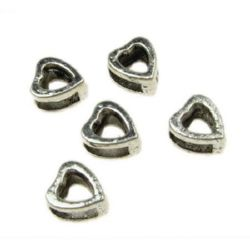 Мънисто метал сърце 9x8x5 мм дупка 4x5 мм цвят сребро -10 броя