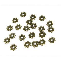 Мънисто метал цвете 4.5x1 мм дупка 1 мм цвят антик бронз -50 броя