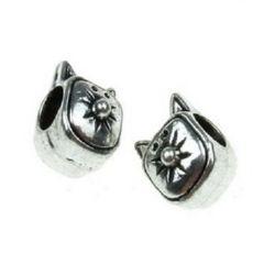 Margele metalica  pisica 10,5x8x11,5 mm gaură 4,5 mm culoare argint vechi -5 bucăți