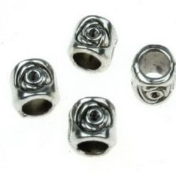 Margele metalica cilindru  8x8 mm gaură 5 mm culoare argintiu vechi -10 grame ~ 11 bucăți
