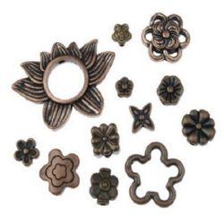 Мънисто метал цветя АСОРТЕ 5~30.5x5~22x3~3.5 мм дупка 1.5~10 мм цвят мед -20 грама