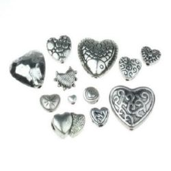 Margele metalica ASORTATE 4 ~ 30x4 ~ 30x3 ~ 10mm gaură 1 ~ 2mm culoare argintiu -20 grame