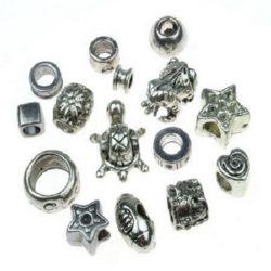 Мънисто метал АСОРТЕ 6~13x8~14x6~12 мм дупка 4~9 мм цвят старо сребро -20 грама
