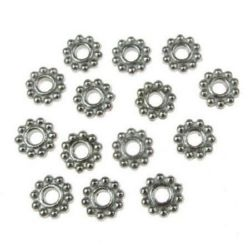 Мънисто метал цвете 6x2 мм дупка 2 мм -30 броя -7.20 грама