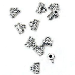 Мънисто метал цилиндър с халка 7x7x4 мм дупка 1~2 мм цвят старо сребро -20 броя