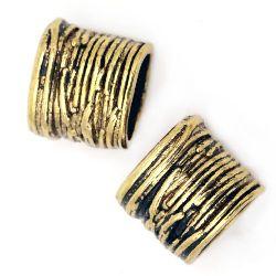 Margele metalica  14x15x10 mm gaura 10 mm culoare aur vechi -4 bucăți