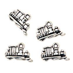 Pandantiv locomotiv metalic pentru decorațiuni, aditiv pentru ambalarea cadourilor 15x12x2 mm orificiu 2 mm culoare argintiu vechi - 5 bucăți