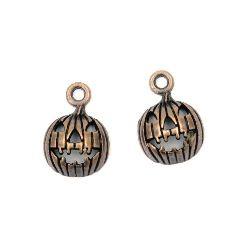 Circle metal pendant,  Halloween pumpkin 12 mm hole 2 mm copper color - 10 pieces