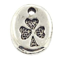 Висулка метална овал 11x9x2 мм дупка 1 мм цвят старо сребро -5 броя