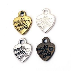 Metal pendant  heart 12.2x10x1.8 mm hole 2 mm color ASSORTED -10 pieces