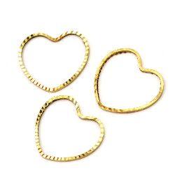 Висулка метална сърце 15x16x1 мм цвят злато -10 броя