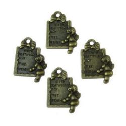 Pendant small metal tile 19x1 5x2.5 mm hole 1 mm color antique bronze - 10 pieces