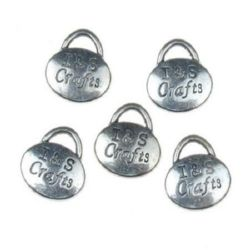 """Pendant metal bag with engraved lettering """"I&S Crafts"""" 11x11.5x2.5 mm hole 2 mm color old silver - 5 pieces"""