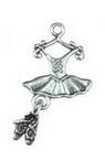 Висулка метална рокля 25x12x2 мм дупка 2 мм цвят старо сребро -10 броя