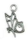 Висулка метална пеперуда 17x10x2.5 мм дупка 2.5 мм цвят старо сребро -20 броя